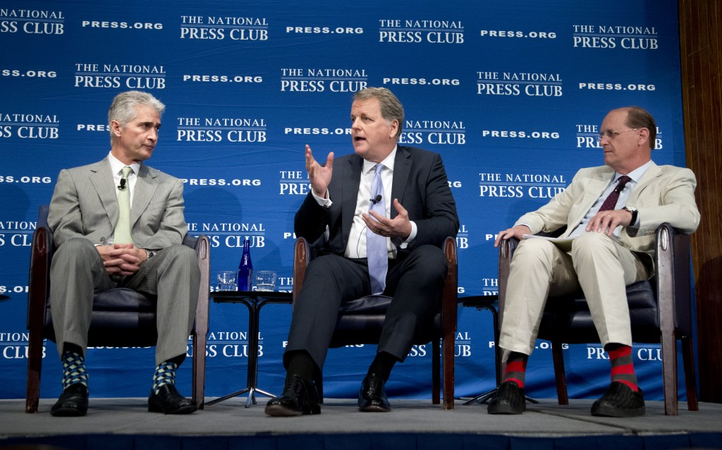 From left, United Airlines Chairman, President and Chief Executive Officer Jeff Smisek; American Airlines Group Chairman and Chief Executive Officer W. Douglas Parker; and Delta Air Lines Chief Executive Officer Richard Anderson participate in a panel discussion about what they call unfair international competition, on Friday, May 15, 2015 at the National Press Club in Washington. (AP Photo/Manuel Balce Ceneta)
