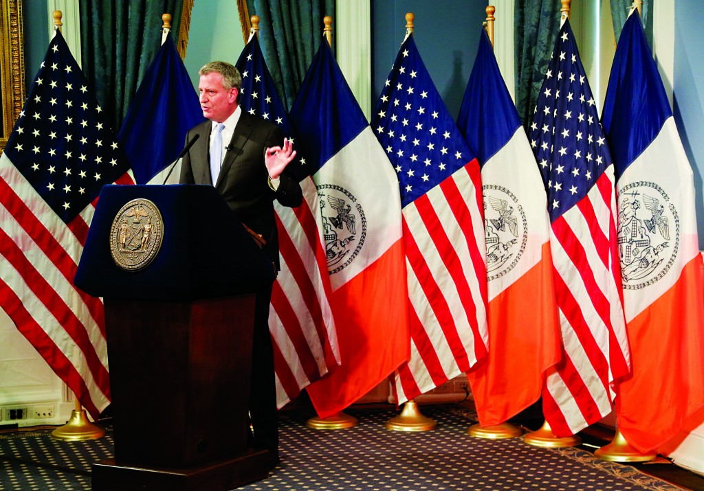 Mayor Bill de Blasio on Thursday presents his executive budget for 2016. (AP Photo/Julie Jacobson)