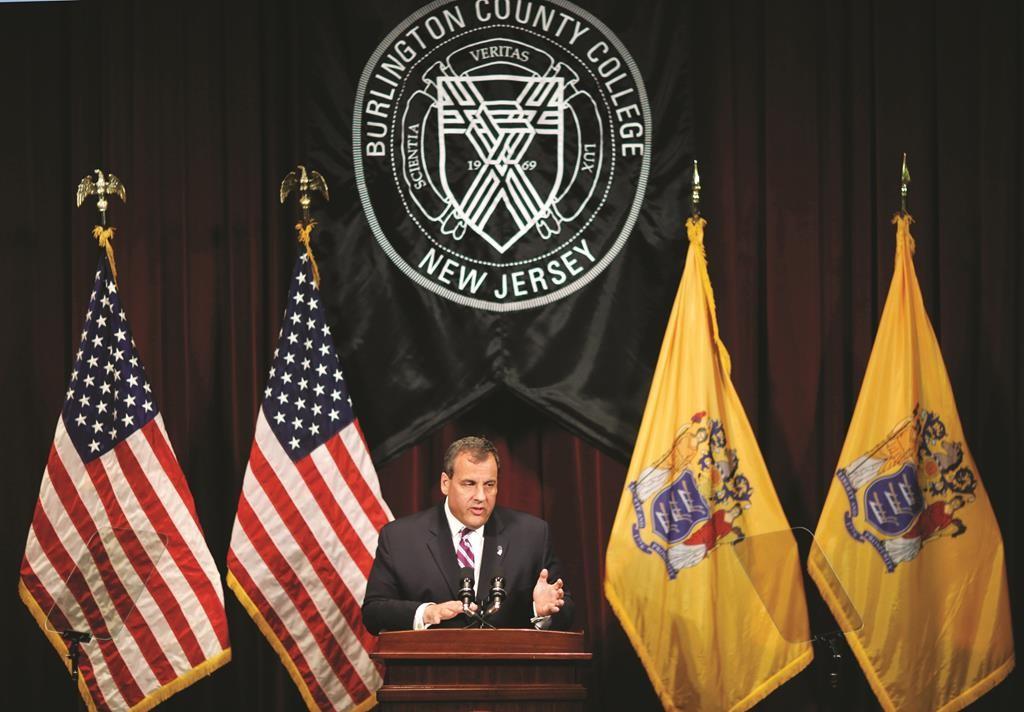 Gov. Chris Christie on Thursday addresses a gathering at Burlington County College in Pemberton, N.J. (AP Photo/Mel Evans)