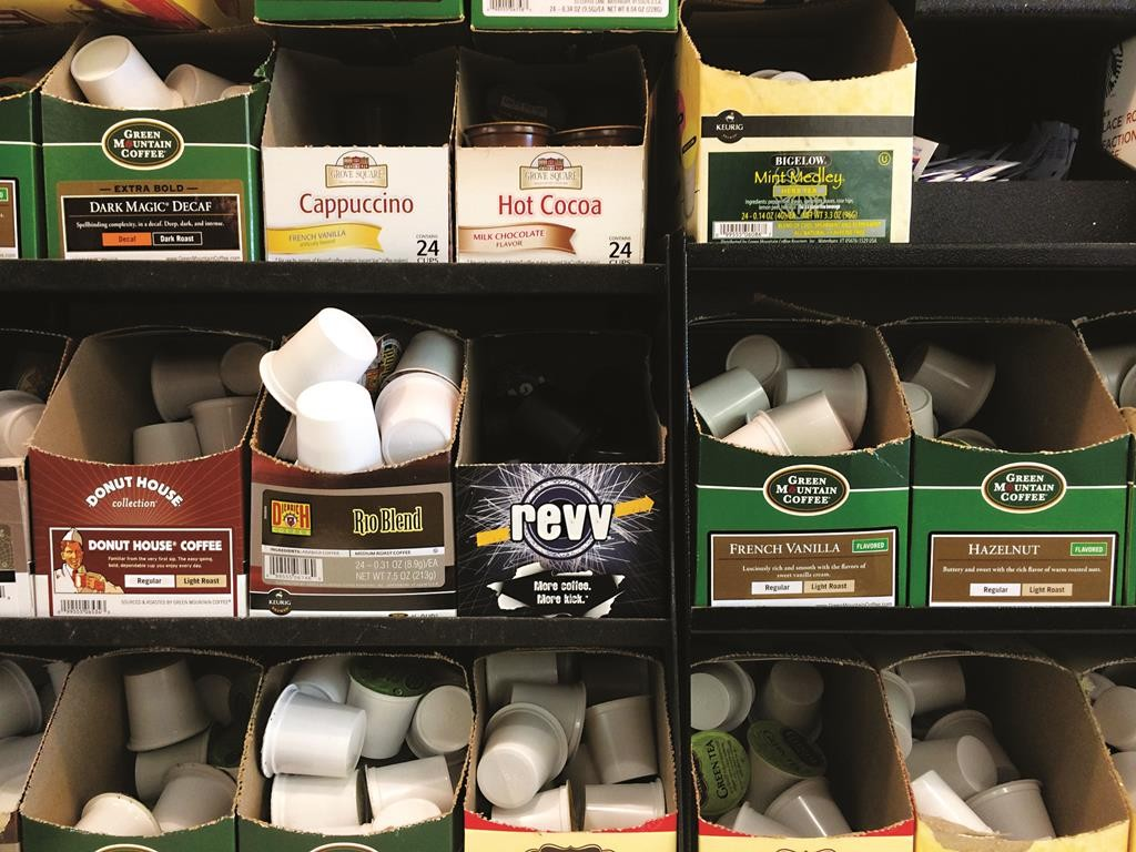 A pile of boxes of K-Cup coffee capsules. (Travis Estell/Flickr)