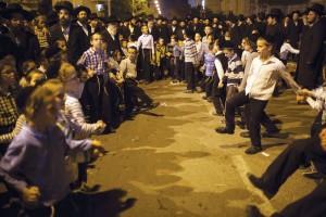 Dancing near a bonfire to celebrate Lag BaOmer in Ashdod. (REUTERS/Amir Cohen)