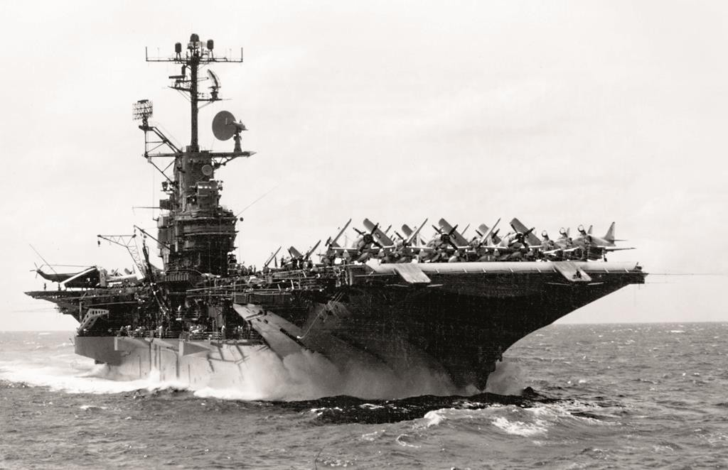 The USS Intrepid steaming in the South China Sea off Vietnam on Sept. 13, 1966. (U.S. Navy)