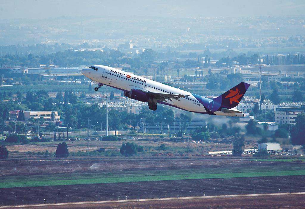 An Israir flight taking off from Ben Gurion International Airport recently. (Moshe Shai/FLASH90)