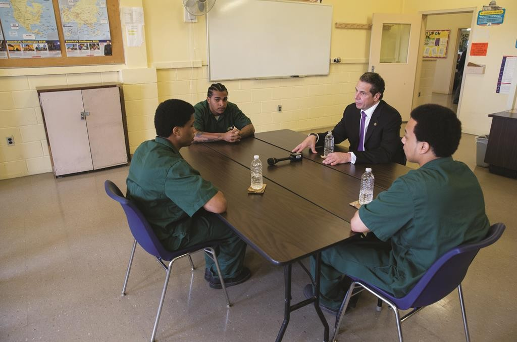 Gov. Andrew Cuomo on Thursday meets with three juvenile inmates at the Greene Correctional Facility in Coxsackie, N.Y. (Office of Gov. Cuomo)