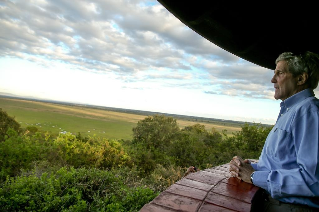 Secretary of State John Kerry looks out from Impala Observation Point at the Nairobi National Park, on Sunday in Nairobi, Kenya. Kerry is visiting Sri Lanka, Kenya and Djibouti on his trip. (AP Photo/Andrew Harnik, Pool)