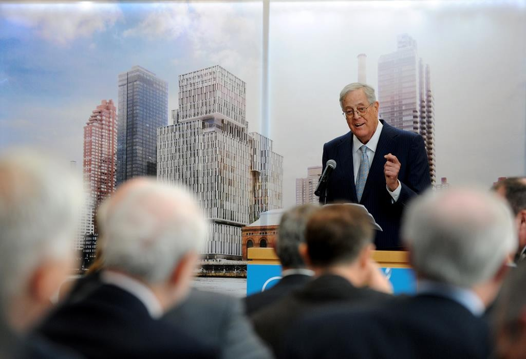 David Koch speaks Wednesday at a luncheon celebrating the groundbreaking of The David H. Koch Center for Cancer Care at Memorial Sloan Kettering in New York. (Diane Bondareff/Invision for Koch Industries/AP Images)