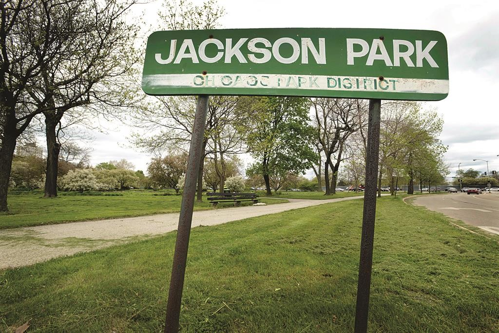 Vehicles pass by Jackson Park in Chicago Tuesday. The head of the Barack Obama Foundation announced Tuesday that Chicago's South Side will be home to the Obama library. The park is one of two Chicago parks picked for the future presidential library. (AP Photo/Paul Beaty)