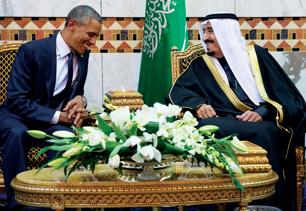 In this Jan. 2015 file photo, President Obama meets Saudi King Salman bin Abdul Aziz in Riyadh, Saudi Arabia.  (AP Photo/Carolyn Kaster-file)