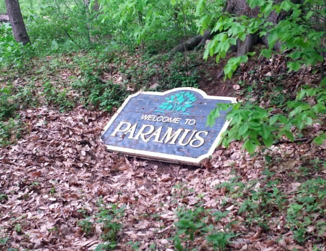 "Police found the missing ""Welcome to Paramus"" sign in the Saddle River County Park on Monday afternoon. (Paramus Police Department)"