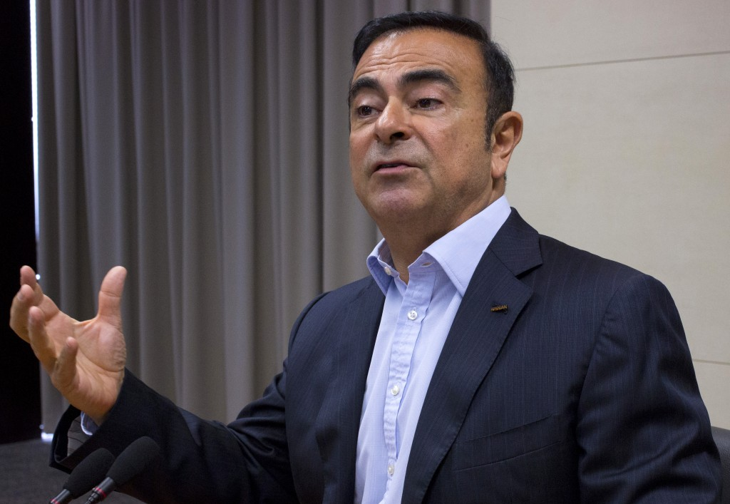 Nissan Motor Co. Chief Executive Carlos Ghosn speaks to reporters at the automaker's headquarters in Yokohama on Monday, May 18, 2015. (AP Photo/Yuri Kageyama)
