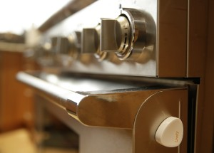 A small motion detector on the side of an oven in Dorothy and Bill Dworsky's home in San Francisco. (AP Photo/Eric Risberg)