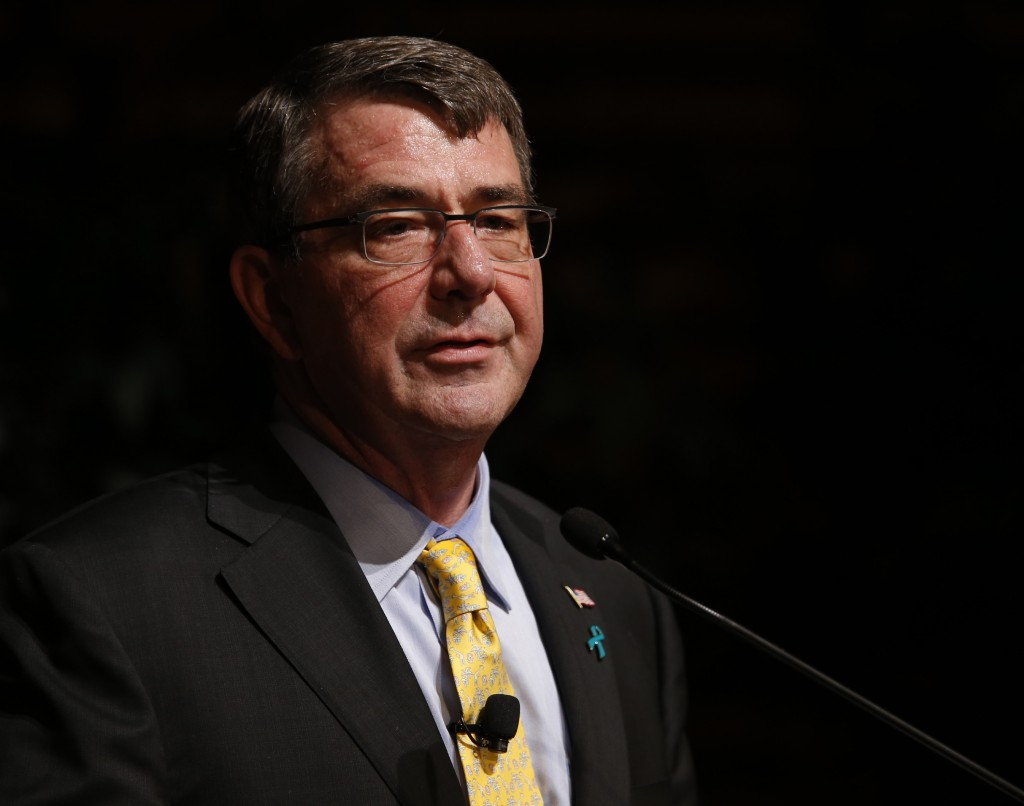 Ash Carter, U.S. Secretary of Defense, delivers a speech on cybersecurity at Stanford University in Palo Alto, Calif., on April 23, 2015. (Gary Reyes/Bay Area News Group/TNS)