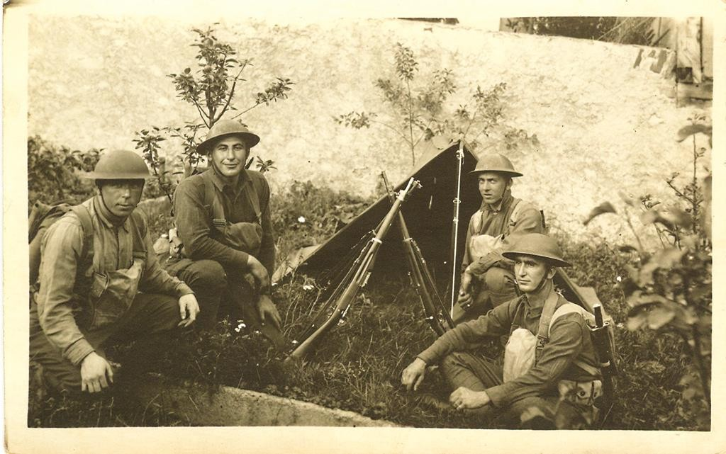 Sgt. William Shemin, second from left and Pvt. Henry Johnson  during World War I. (William Shemin Collection)