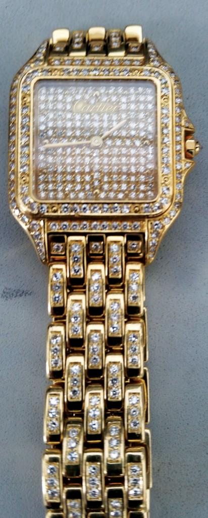A diamond-encrusted Cartier watch left behind at Newark Airport on Tuesday. (AP Photo/TSA)