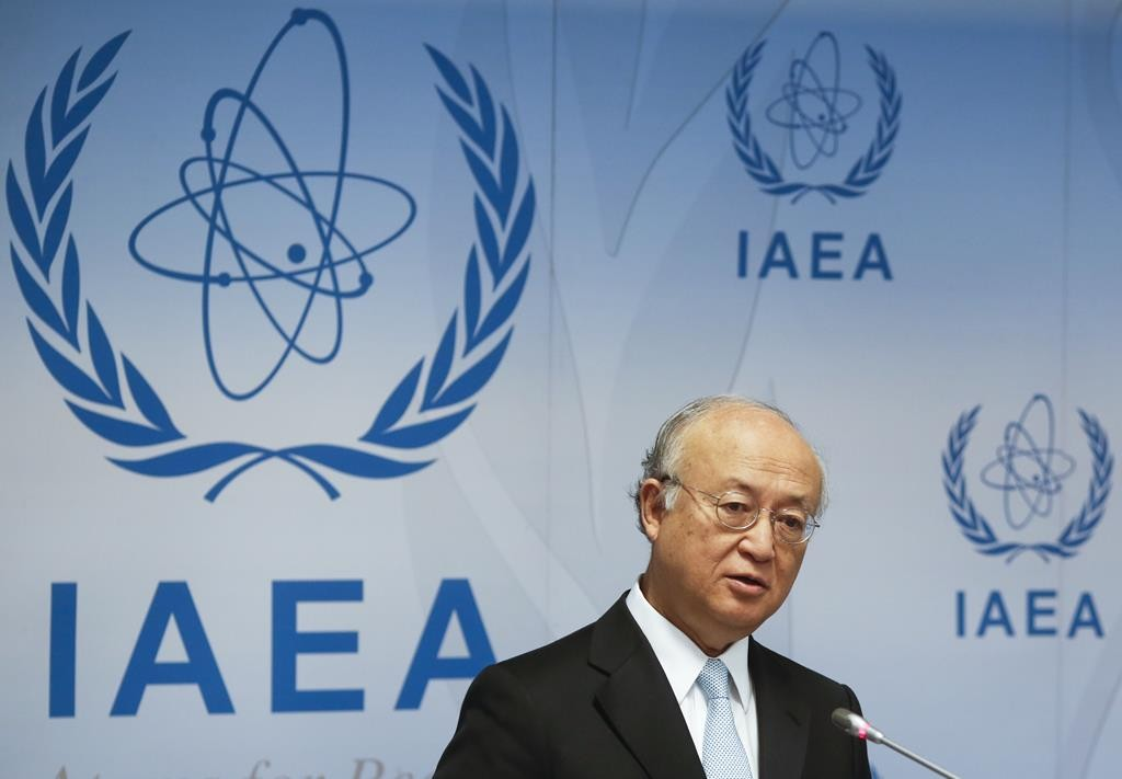 International Atomic Energy Agency (IAEA) Director General Yukiya Amano addresses a news conference after a board of governors meeting at the IAEA headquarters in Vienna, Austria, Monday. (REUTERS/Leonhard Foeger)