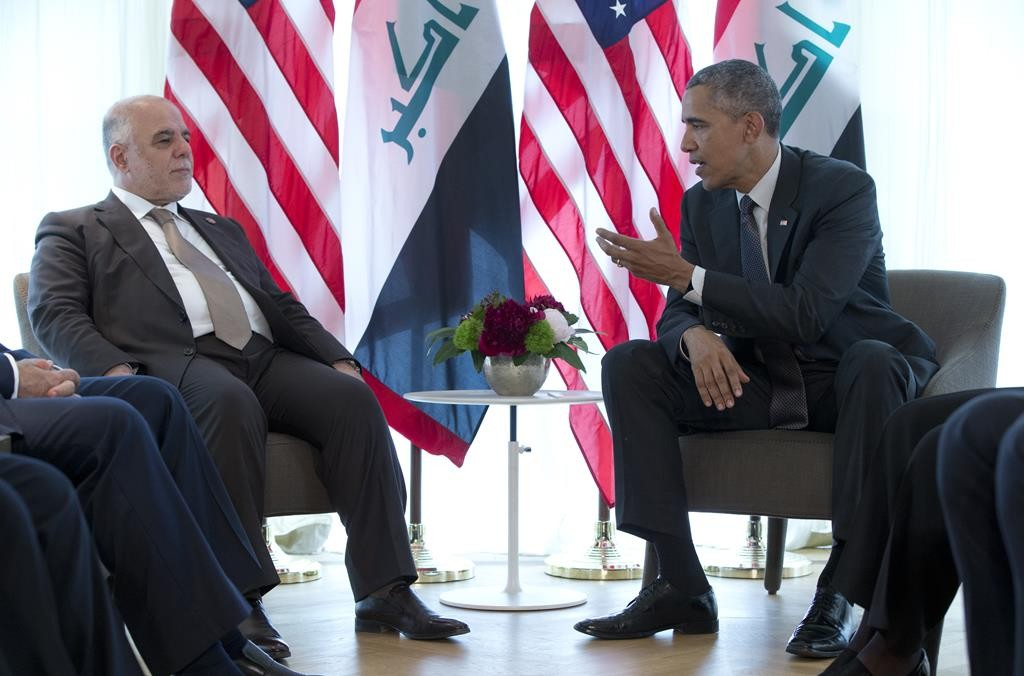 President Barack Obama and Iraqi Prime Minister Haider al-Abadi, left, participate in a bilateral meeting during the G-7 summit in Schloss Elmau Hotel near Garmisch-Partenkirchen, southern Germany, Monday. (AP Photo/Carolyn Kaster)