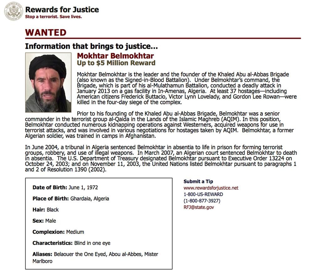 """This wanted poster from the website of the State Department's """"Rewards for Justice"""" program shows a mugshot of Mokhtar Belmokhtar, charged with leading the attack on a gas plant in Algeria in 2013 that killed at least 35 hostages, including three Americans.  (U.S. State Department Rewards For Justice via AP)"""