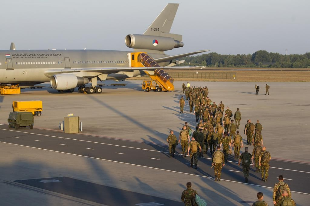 Dutch soldiers of the Air Brigade depart for Poland from Eindhoven Airport on Friday for the first joint exercise of the Very High Readiness Task Force (VJTF) of the NATO. 2,100 soldiers from nine countries will take part in the exercise.  (JEROEN JUMELET/AFP/Getty Images)