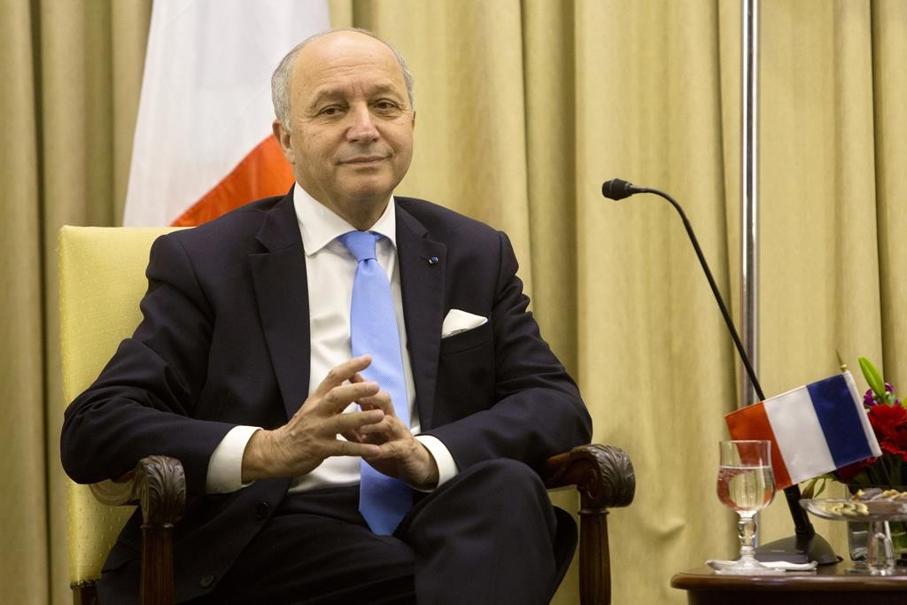 French Foreign Minister Laurent Fabius looks on during his meeting with Israel's President Reuven Rivlin at the President's residence in Yerushalayim, Sunday.  (AP Photo/Sebastian Scheiner)