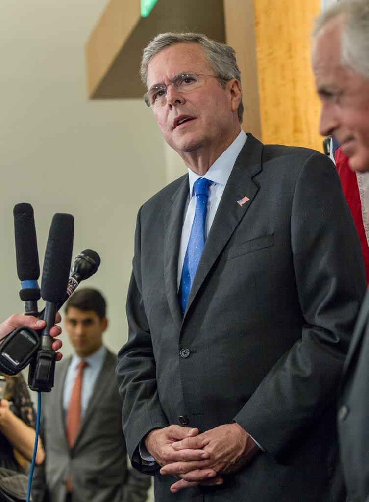 Former Florida Gov. Jeb Bush speaks to reporters before a recent Tennessee Republican Party fundraising dinner in Nashville, Tenn.  (AP Photo/Erik Schelzig)