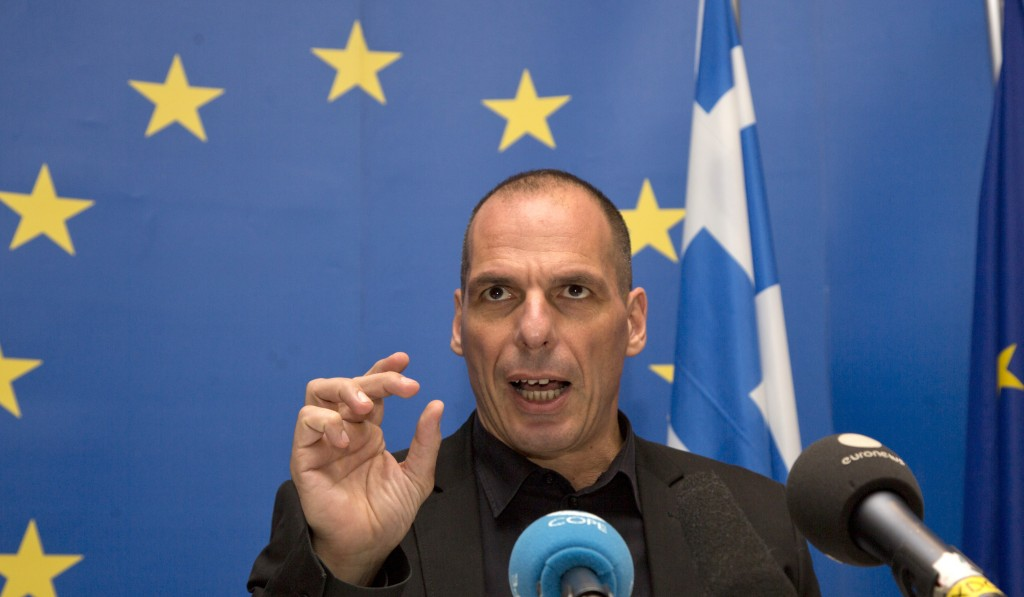 Greek Finance Minister Yanis Varoufakis speaks during a media conference after a meeting of eurogroup finance ministers at the European Council building in Luxembourg on Thursday, June 18. (AP Photo/Virginia Mayo)