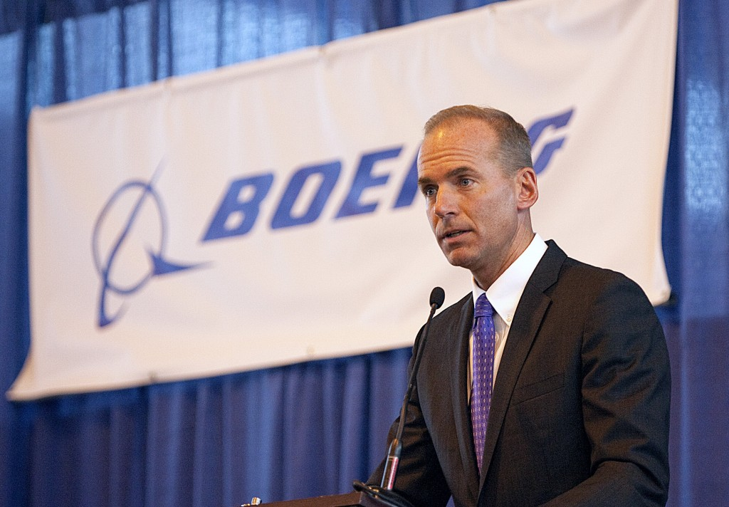 In this Aug. 19, 2010 photo, Dennis Muilenburg, then executive vice president of Boeing Co. and president and CEO of Boeing Defense, Space and Security, speaks during a ceremony at MidAmerica Airport in Mascoutah, Ill. Muilenburg, now President and Chief Operating Officer of Boeing Co., will become Boeing Co.'s new CEO on July 1. (Tim Vizer/Belleville News-Democrat via AP, File)