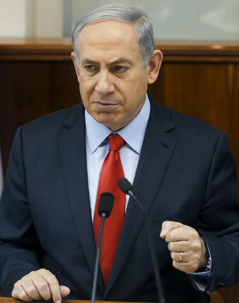 Prime Minister Binyamin Netanyahu at the weekly cabinet meeting on Sunday. (REUTERS/Atef Safadi/Pool)