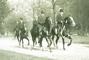 Horse riders on the Bridle Path in Prospect Park in 1912. Central and Prospect Parks will return to the car-free days of a century ago next month. (Charles D. Lay/Harvard University)
