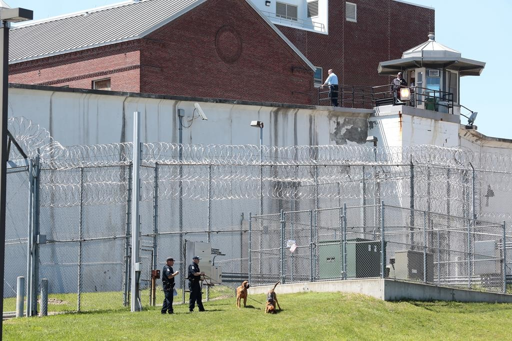Law-enforcement officers with bloodhounds stand guard at one of the entrances to the Clinton Correctional Facility in Dannemora, N.Y. (Gabe Dickens/Press-Republican via AP)