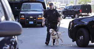 A Boston police officer and his explosives detection dog patrol through a maze of police vehicles outside the Moakley Federal Courthouse in Boston, Wednesday.  (AP Photo/Charles Krupa)