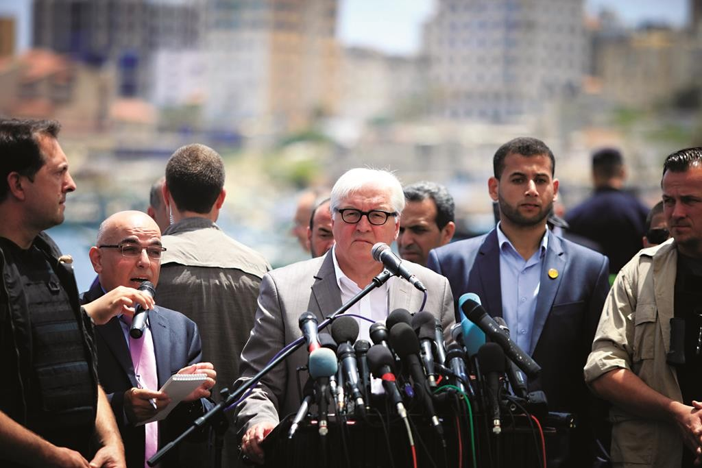 German's Foreign Minister Frank-Walter Steinmeier at a news conference in Gaza City on Monday.  (Aaed Tayeh /Flash90)