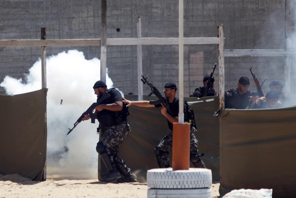 Hamas security forces seen in urban warfare training recently in Gaza City. (Aaed Tayeh/Flash90)