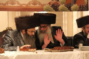 The niftar in conversation with his nephew, Harav Yosef Meir Horowitz, Spinka Rebbe in Williamsburg.  (JDN)