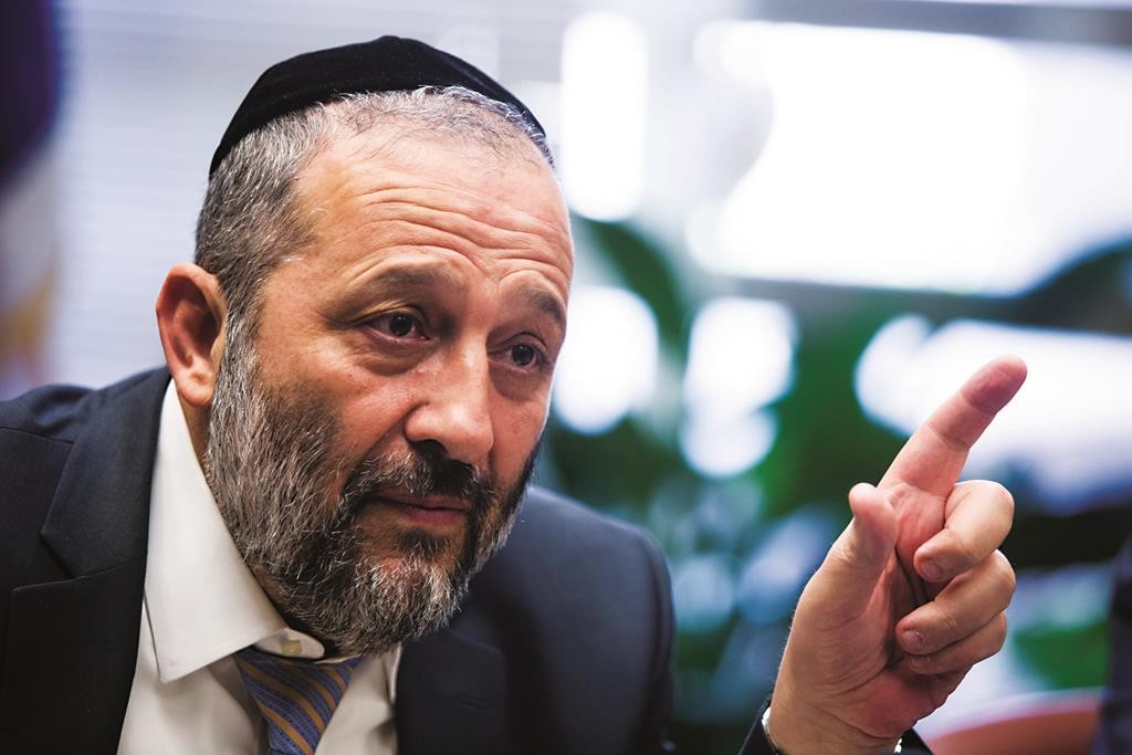 Shas leader Aryeh Deri. (Yonatan Sindel/Flash90)