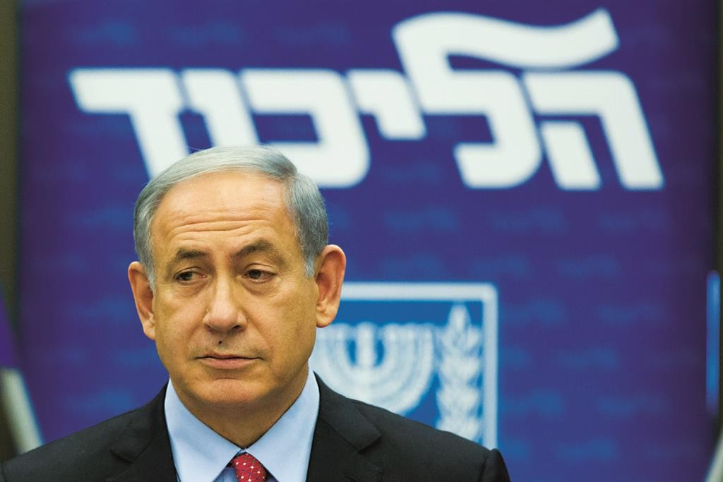 Prime Minister Binyamin Netanyahu at the weekly Likud party meeting on Monday. (Yonatan Sindel/Flash90)