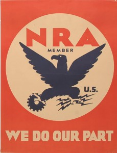 NRA Blue Eagle poster, the image most commonly associated with the NIRA.