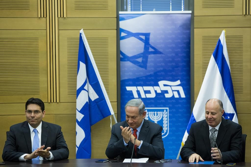 Prime Minister Binyamin Netanyahu at a Likud party meeting on Monday. (Yonatan Sindel/Flash90)