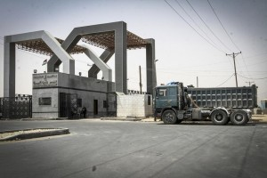 Kerem Shalom crossing seen closed from the Gazan side on Sunday, after Israel closed it and the Erez crossing following rocket fire from Palestinian terrorists. (Abed Rahim Khatib/Flash 90)