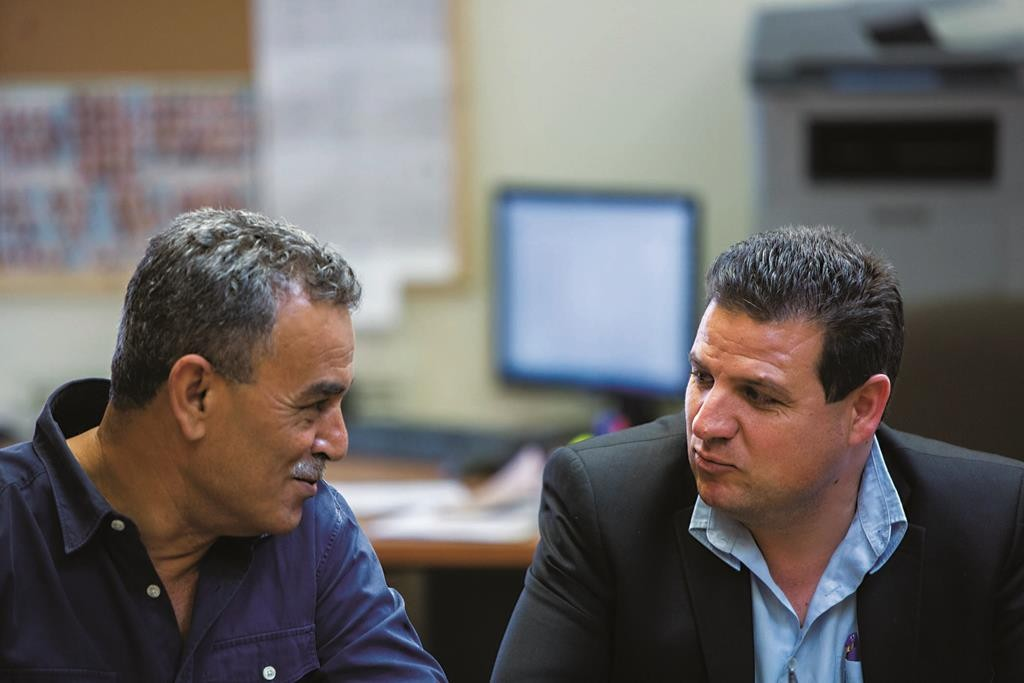 Leader of the Joint Arab List Ayman Odeh (R) with MK Jamal Zahalka, who has declared his intention to join the Gaza flotilla. (`Yonatan Sindel/Flash90)