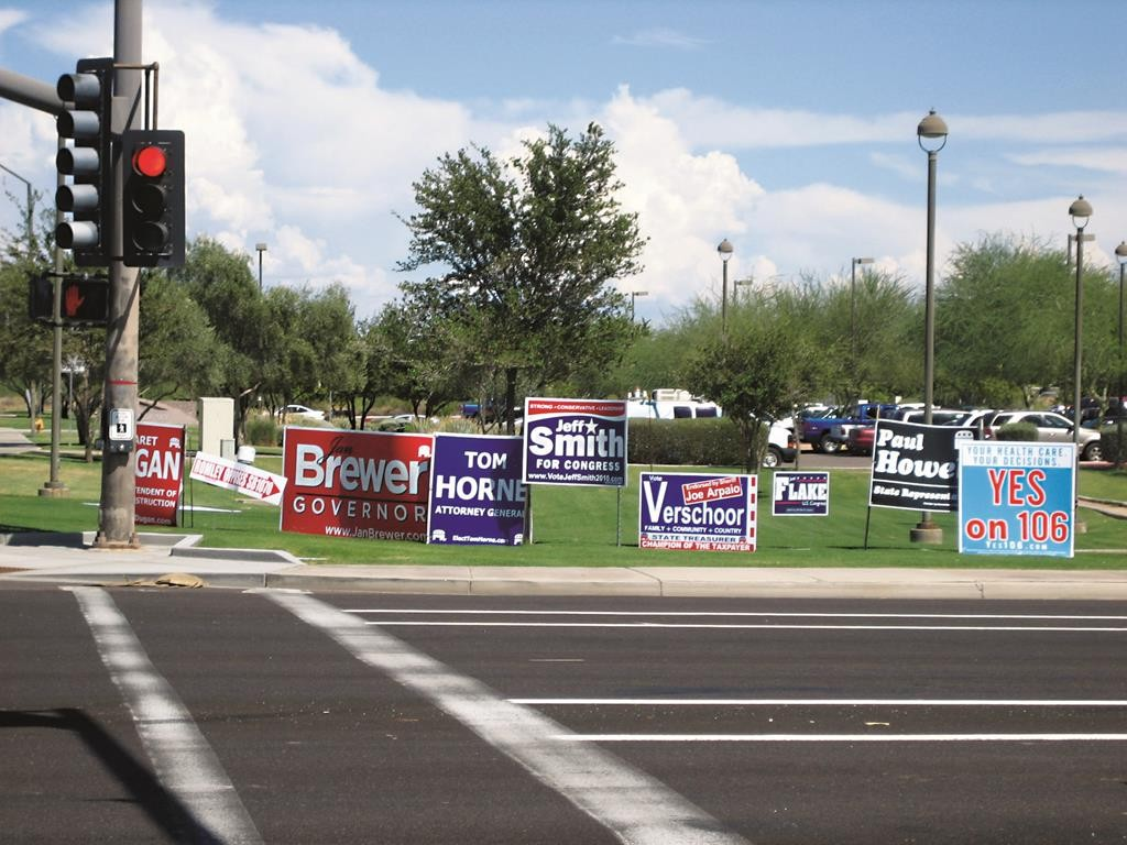 Political signs in Gilbert, Arizona. (adf media)