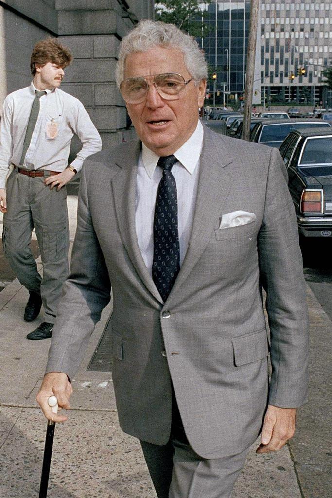 Rep. Mario Biaggi enters a New York courthouse in 1988. (AP Photo/Mario Suriani)