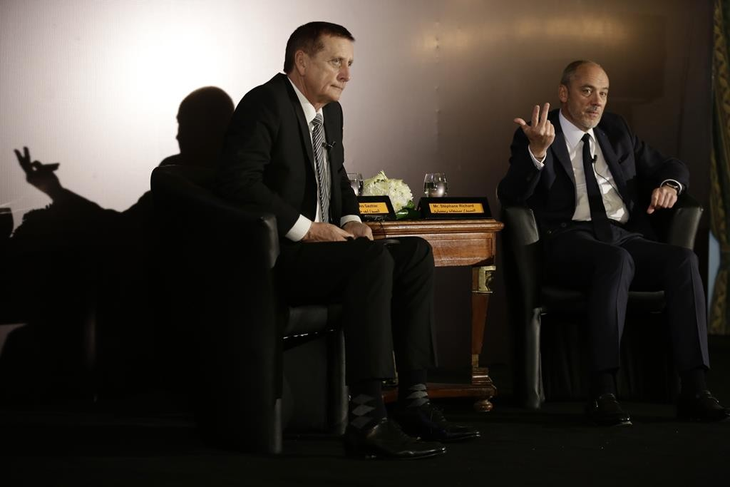 Stephane Richard (R), CEO of French mobile phone company Orange, gestures as he speaks during a press conference in Cairo, Egypt. (AP Photo/Thomas Hartwell)