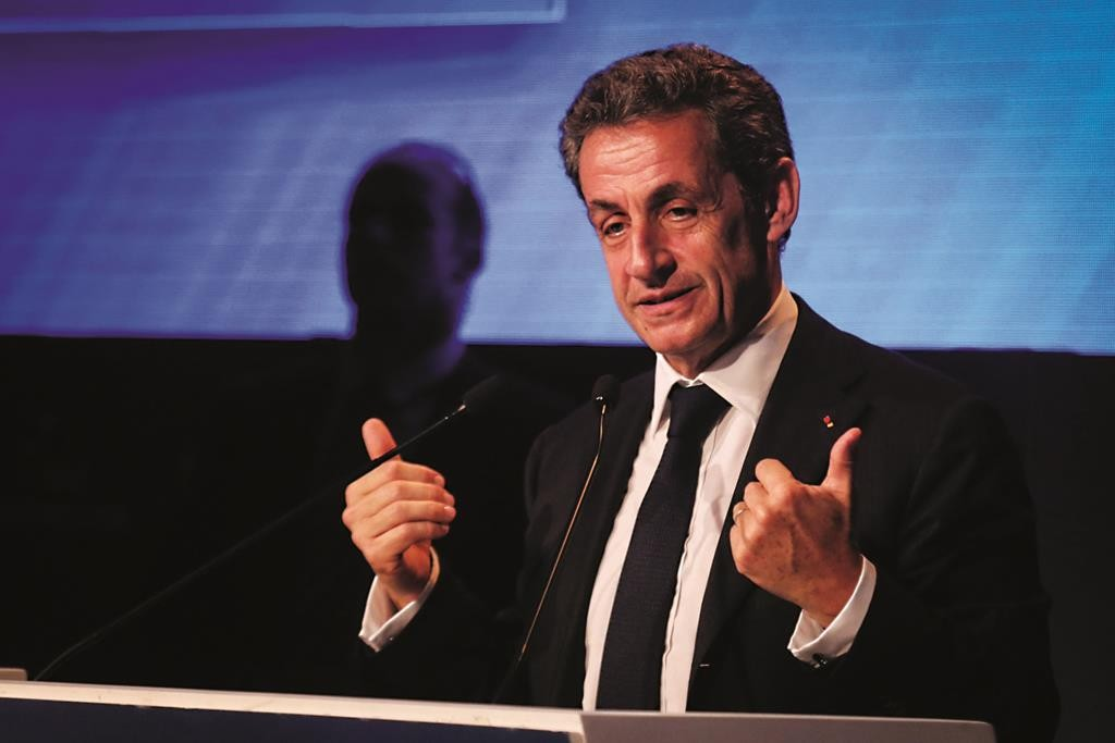 Former President of France Nicolas Sarkozy addressing the Herzliya conference earlier this month. (FLASH90)