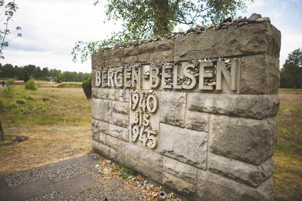 The entrance of the memorial site of the former Bergen-Belsen concentration camp in Bergen, north of Hanover, central Germany. The Queen and The Duke of Edinburgh viewed the grave of Anne Frank and laid a wreath at the inscription wall, before they met two survivors of the camp, as well as two of its liberators. The state visit lasted four days, their first to Germany since 2004. (NIGEL TREBLIN/AFP/Getty Images)