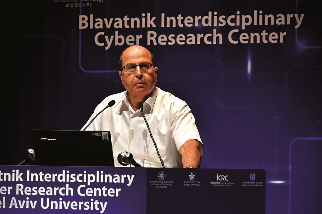 Israeli Minister of Defense Moshe 'Boogie' Ya'alon speaking at the International Cyber Conference at Tel Aviv University last week.  (Ariel Hermoni/Ministry of Defense)