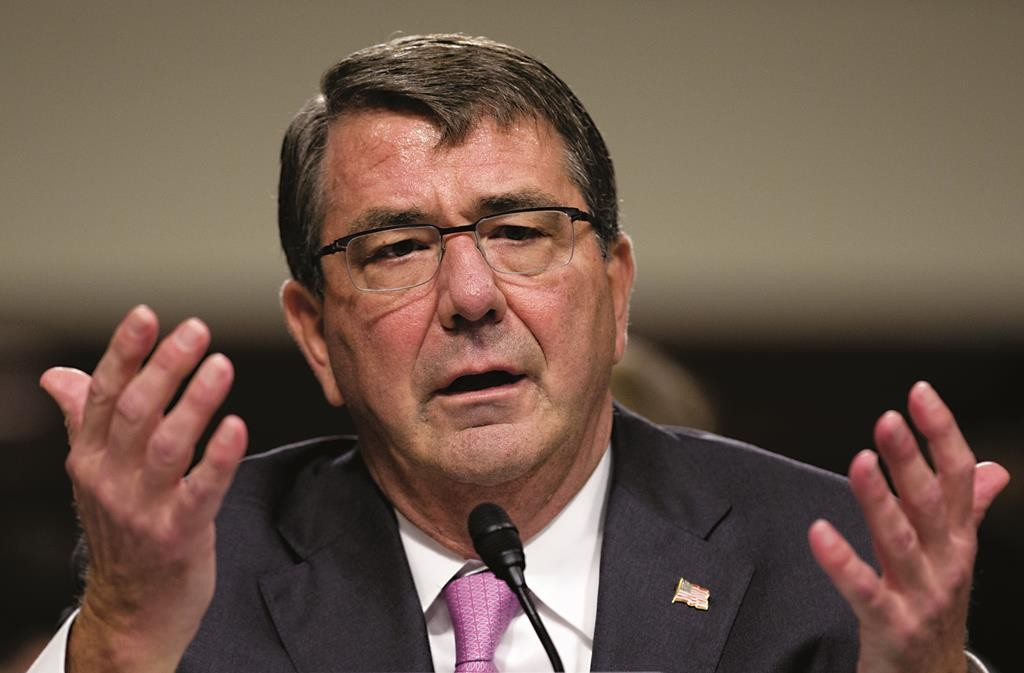 Defense Secretary Ash Carter testifies at the Senate Armed Services Committee hearing on Capitol Hill in Washington, Tuesday. (AP Photo/Carolyn Kaster)