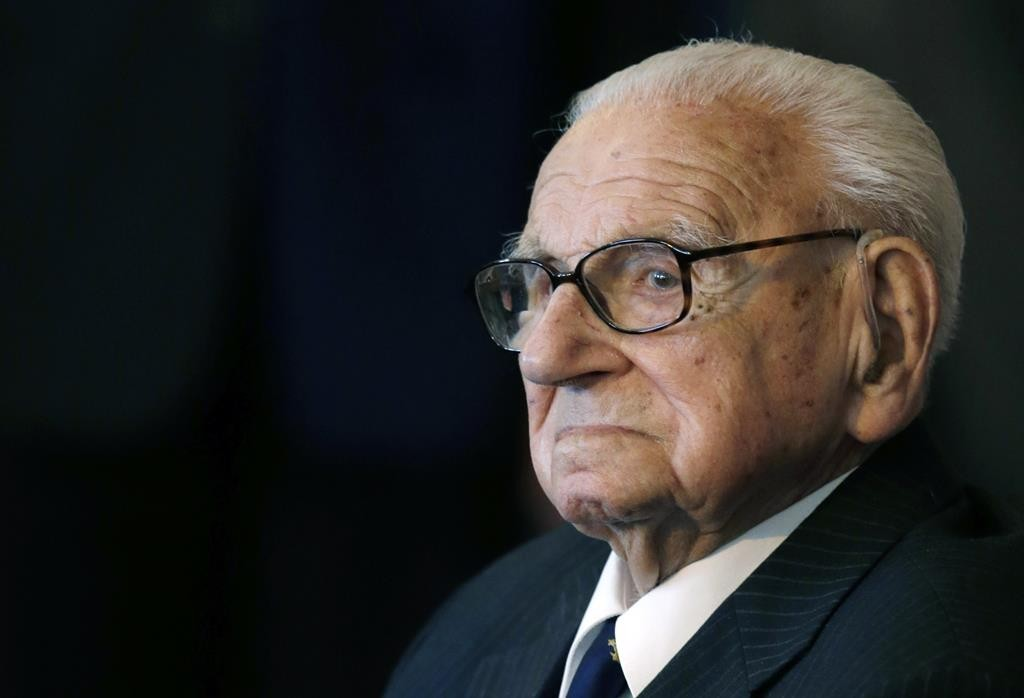In this 2014 photo, of the then 105 year-old Sir NicholasWinton waiting to be decorated with the highest Czech Republic's highest decoration. (AP Photo/Petr David Josek, File)