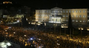 Supporters of the 'No' vote gather after the results of the referendum at Syntagma square in Athens, on Sunday. (REUTERS/Alkis Konstantinidis)
