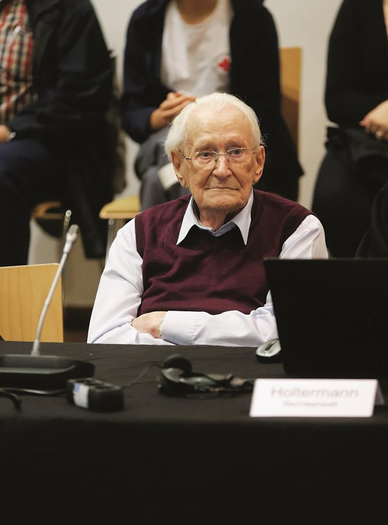 Oskar Groening, defendant and former Nazi SS officer, sits in the courtroom during his trial in Lueneburg, Germany, Wednesday.  (REUTERS/Axel Heimken/Pool)