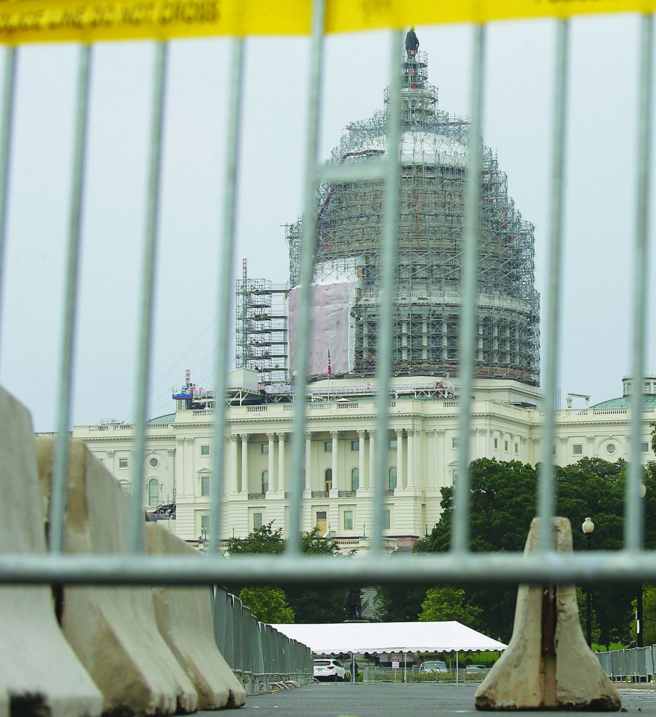 Security barriers block vehicle access in front of the US Capitol building Thursday in Washington, DC. Security has been ramped up around the Capitol as well as other regions ahead of the upcoming Independence day.   (Mark Wilson/Getty Images)